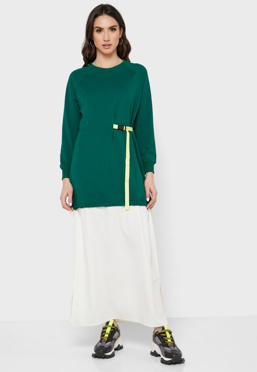 Colour Block Belt Detail Dress
