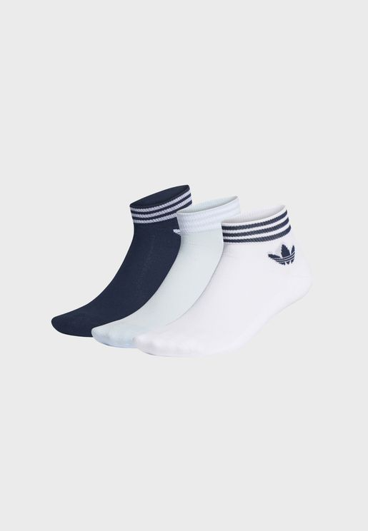 3 Pack Trefoil 3 Stripe Ankle Socks