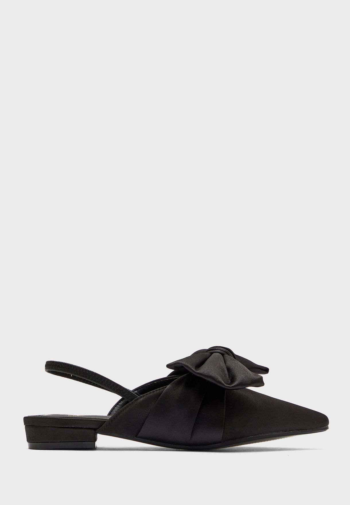 Satin Pointed Oversized Bow Slingback Shoe