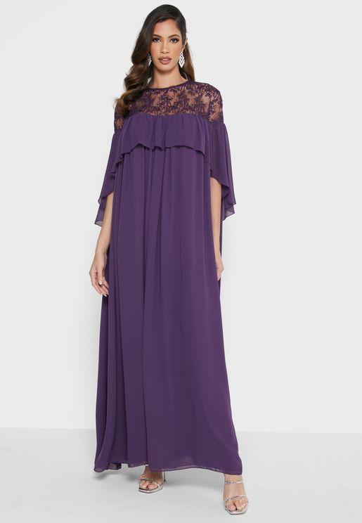Mesh Yoke Overlay Dress