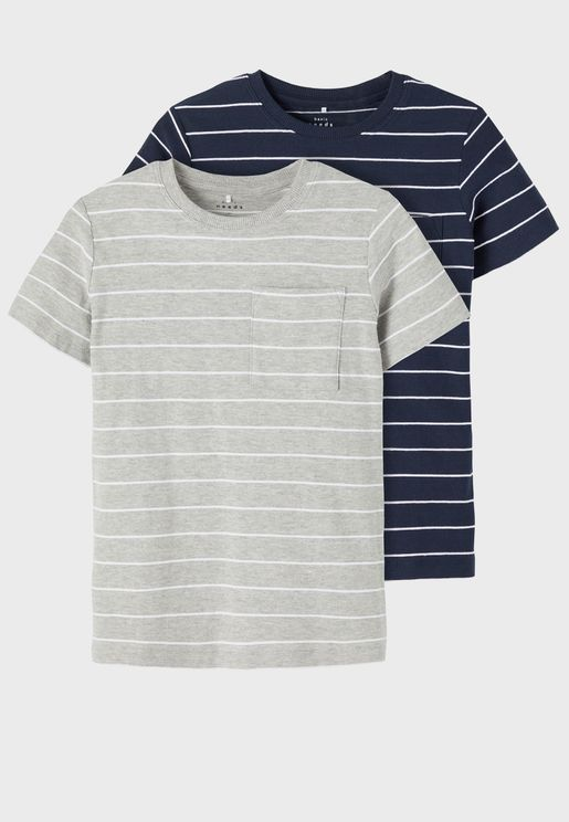 Kids 2 Pack Striped T-Shirt