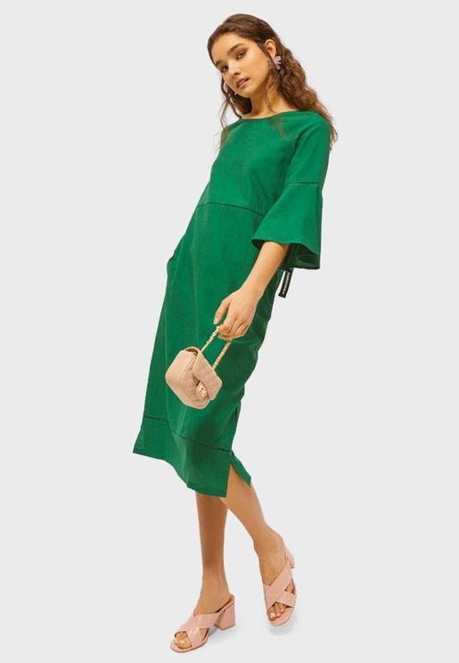 Flute Sleeve Striped Dress