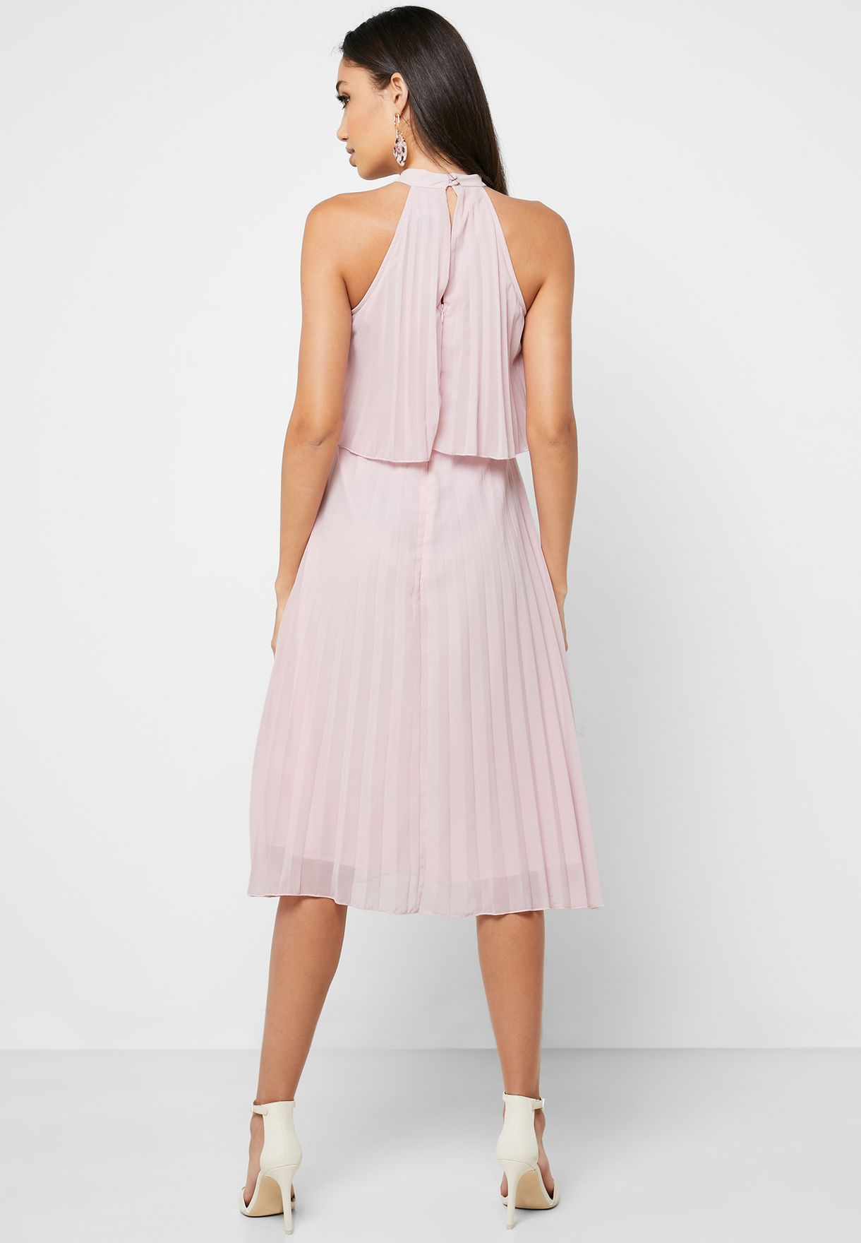 Halter Neck Pleated Dress