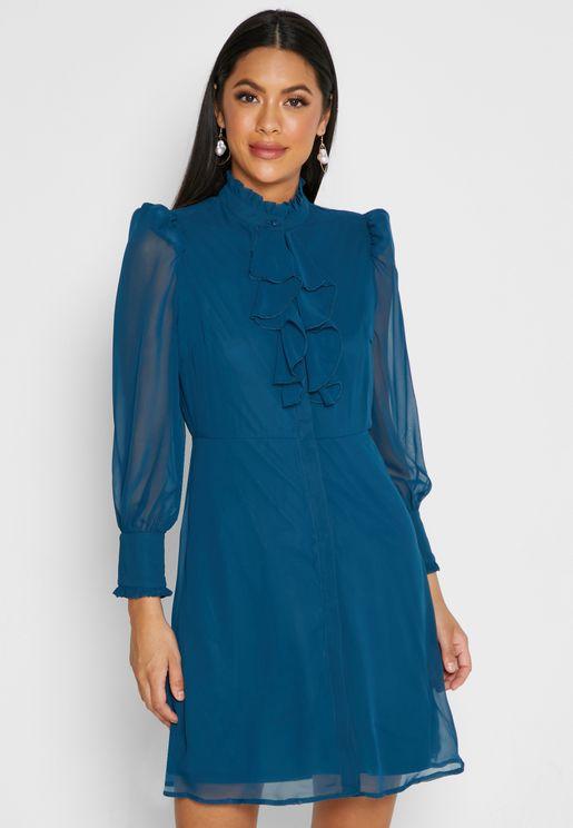 Ruffle Trim Midi Dress