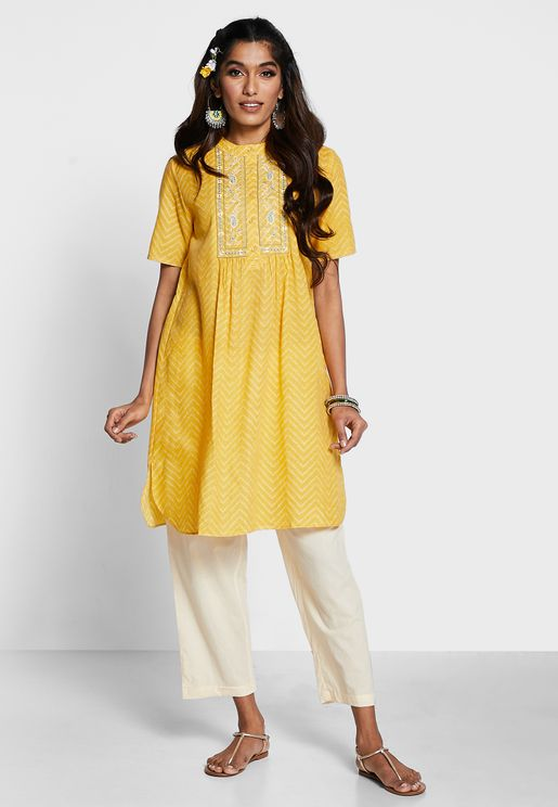 Band Collar Embroidered Palcket  Kurti With Pant