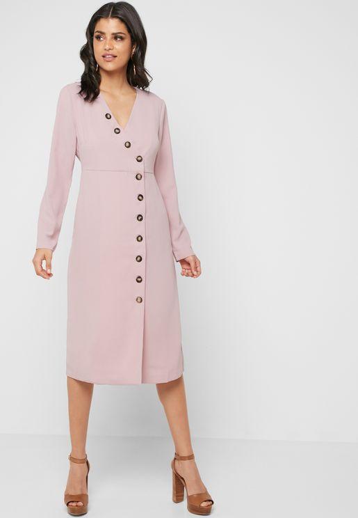Front Split Button Down Dress