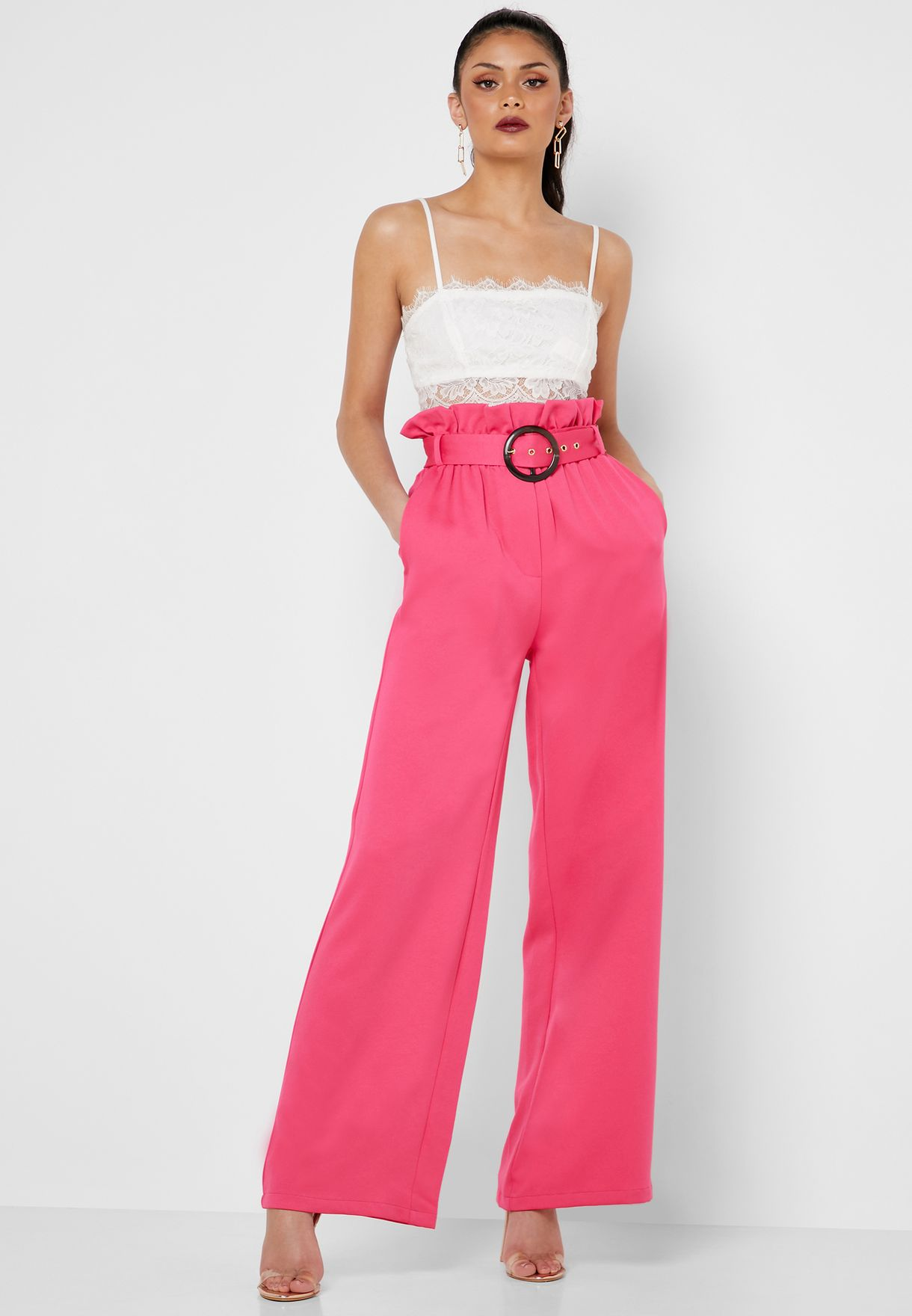 Wide Leg Belted Pants Co Ord