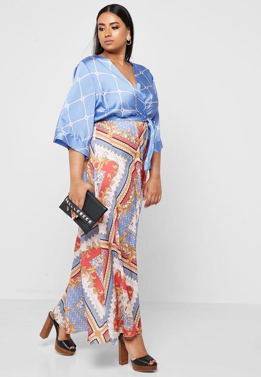 Paisley Print Wrap Front Kimono Sleeve Maxi Dress