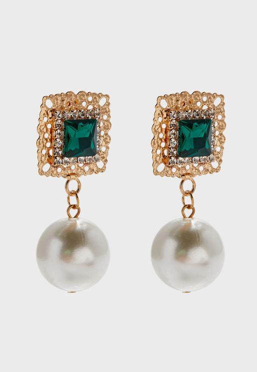 Diamante Detailed & Pearl Earrings
