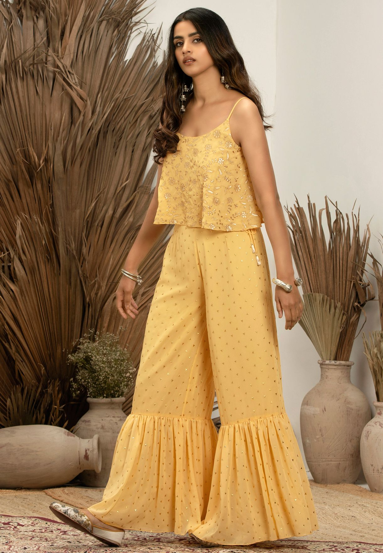 Indya X Payal Singhal Yellow Embroidered Strappy Flared Top