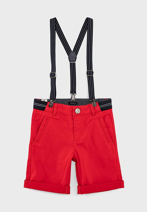 Kids Elasticated Waistband Shorts With Suspenders