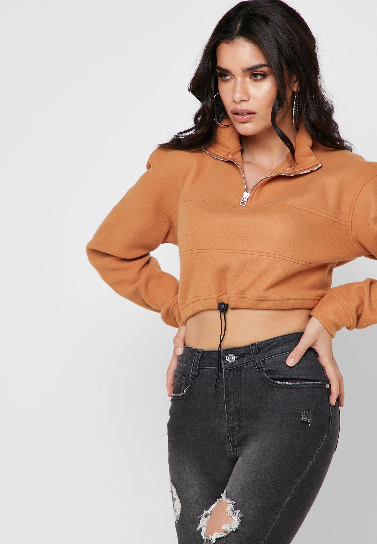 Zip Detail Cropped Sweatshirt