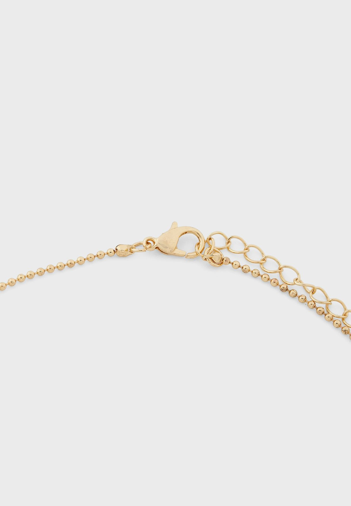 3 Layer Chain And Pearl Oval Pendent Necklace