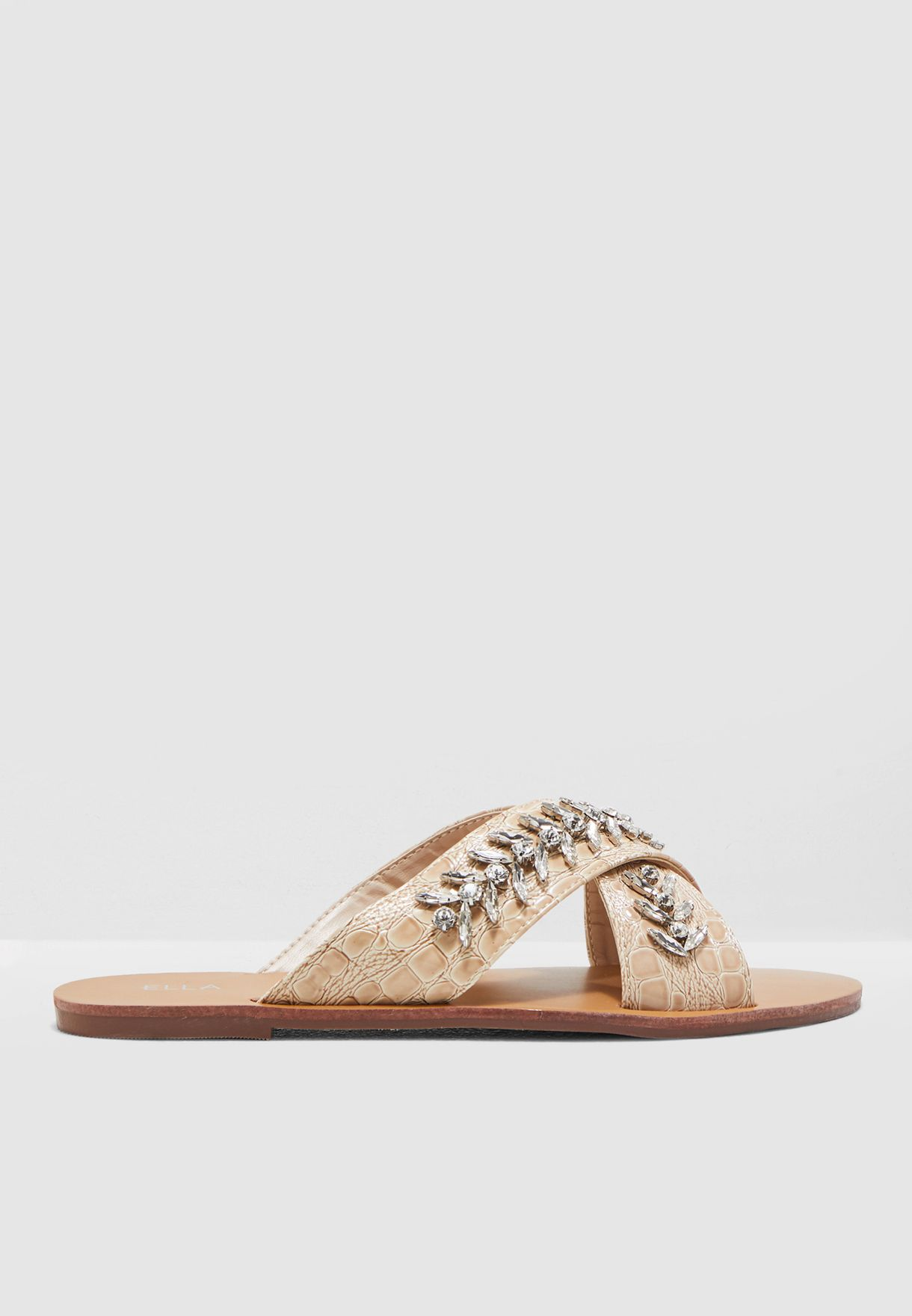Cross Front Sandal With Embellishment