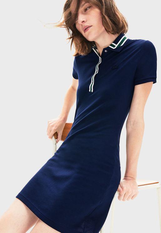 Contrast Detail Logo Polo Dress