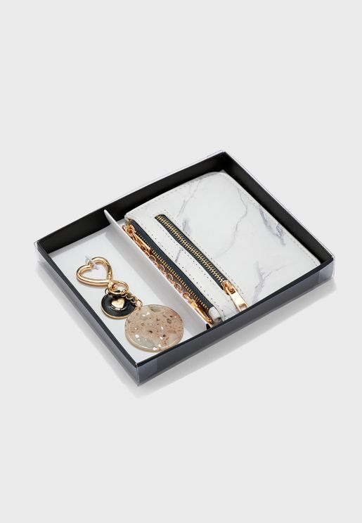 Marble Effect Purse And Keyring Set