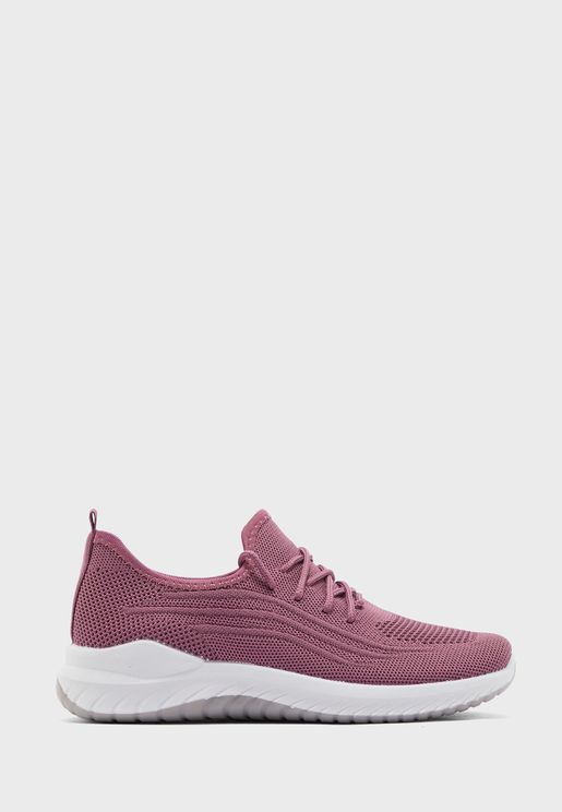 Knitted Lace Up Comfort Sneakers