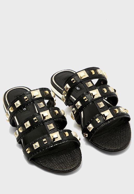 Caged Studded Flat Sandal