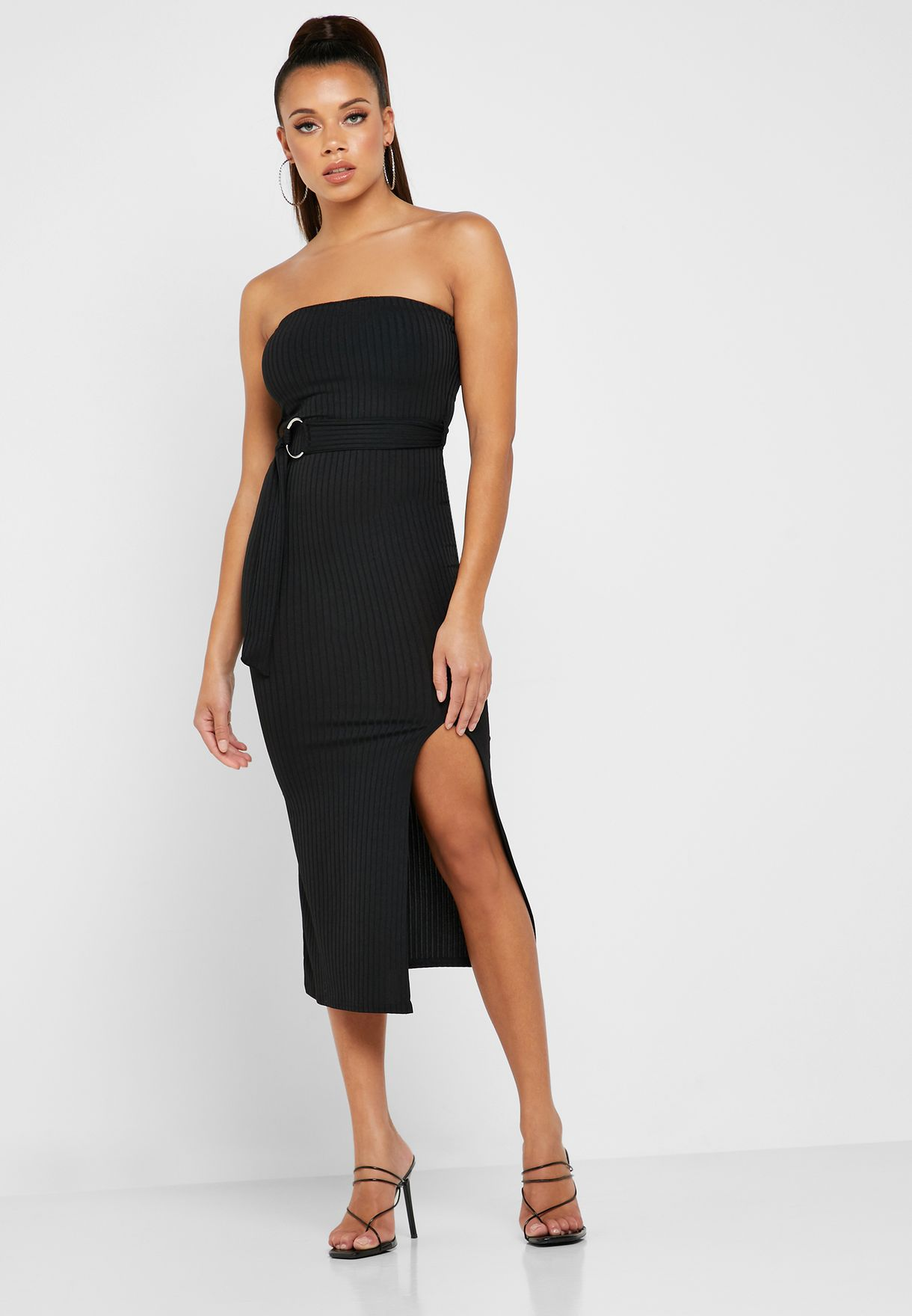 Bandeau Belted Ribbed Dress