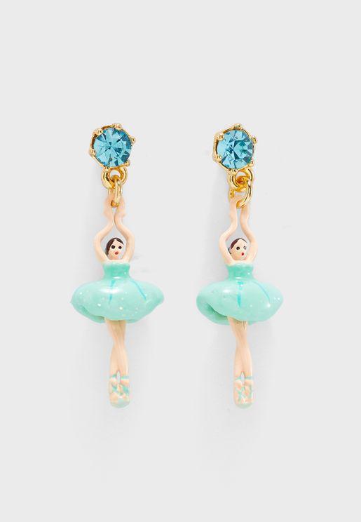 Mini Ballerina In Blue Tutu Earrings