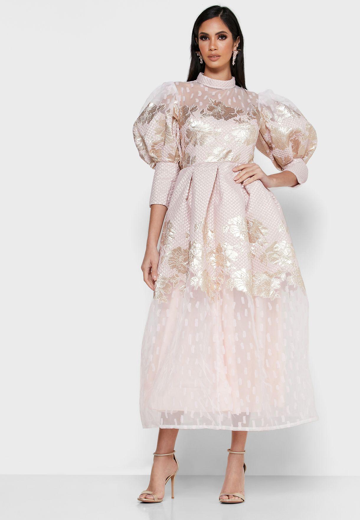 High Neck Balloon Sleeve Dress
