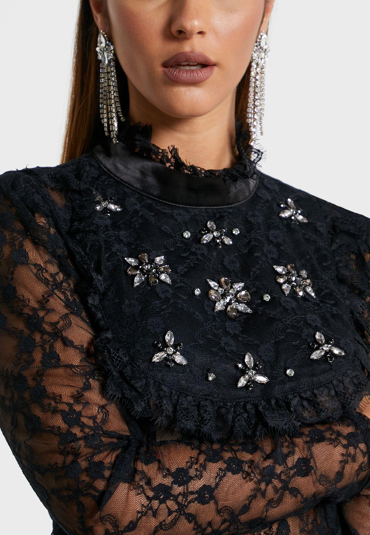 Lace Detail Mesh Top