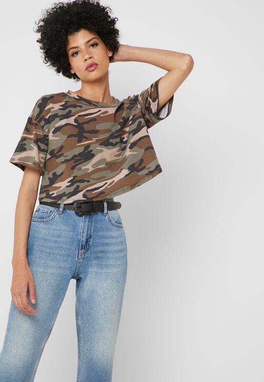Camo Print Crop T-Shirt
