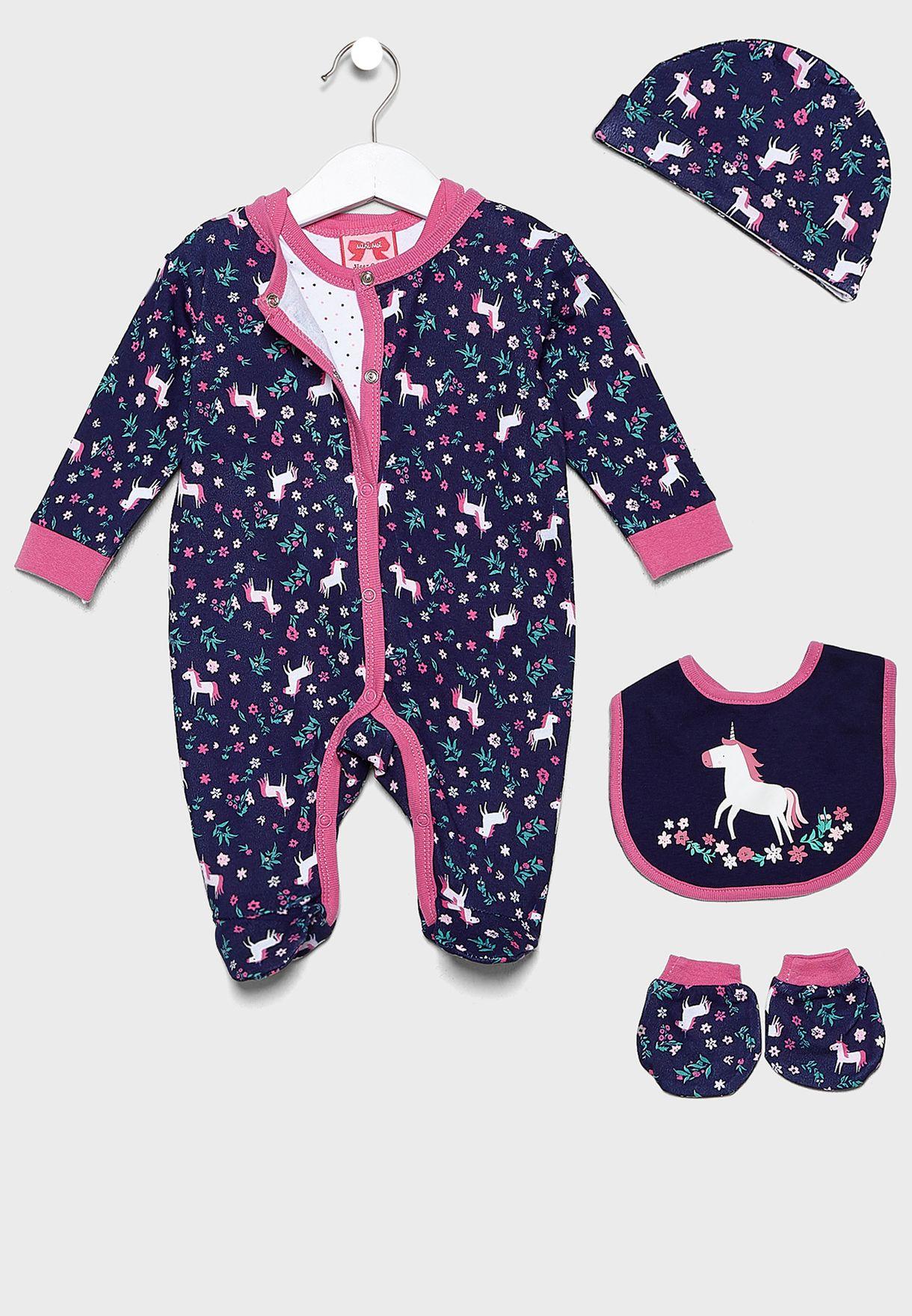 Infant 5 Piece Floral Unicorn Gift Set