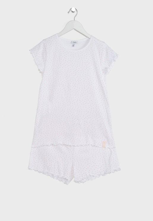 Youth Dot Print Pyjama Set