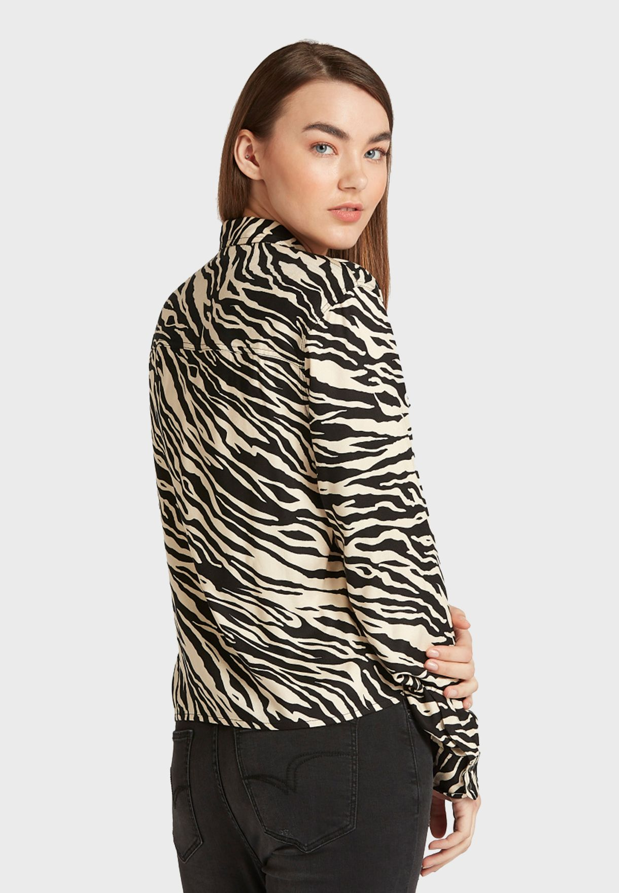Animal Print Oversized Shirt
