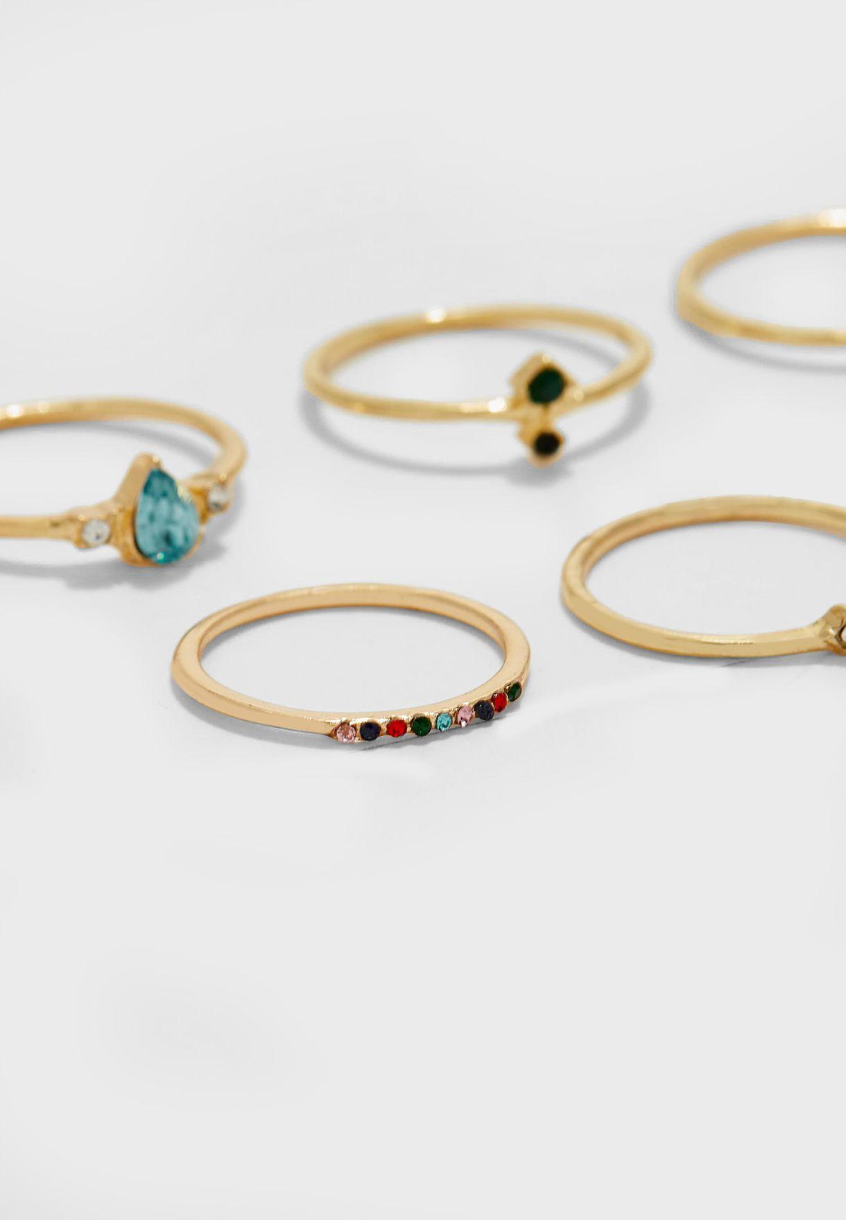 8 Pack Mixed Gem Stone Ring Set