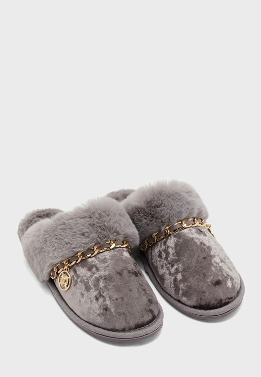 Velvet Chain Trim Slip On