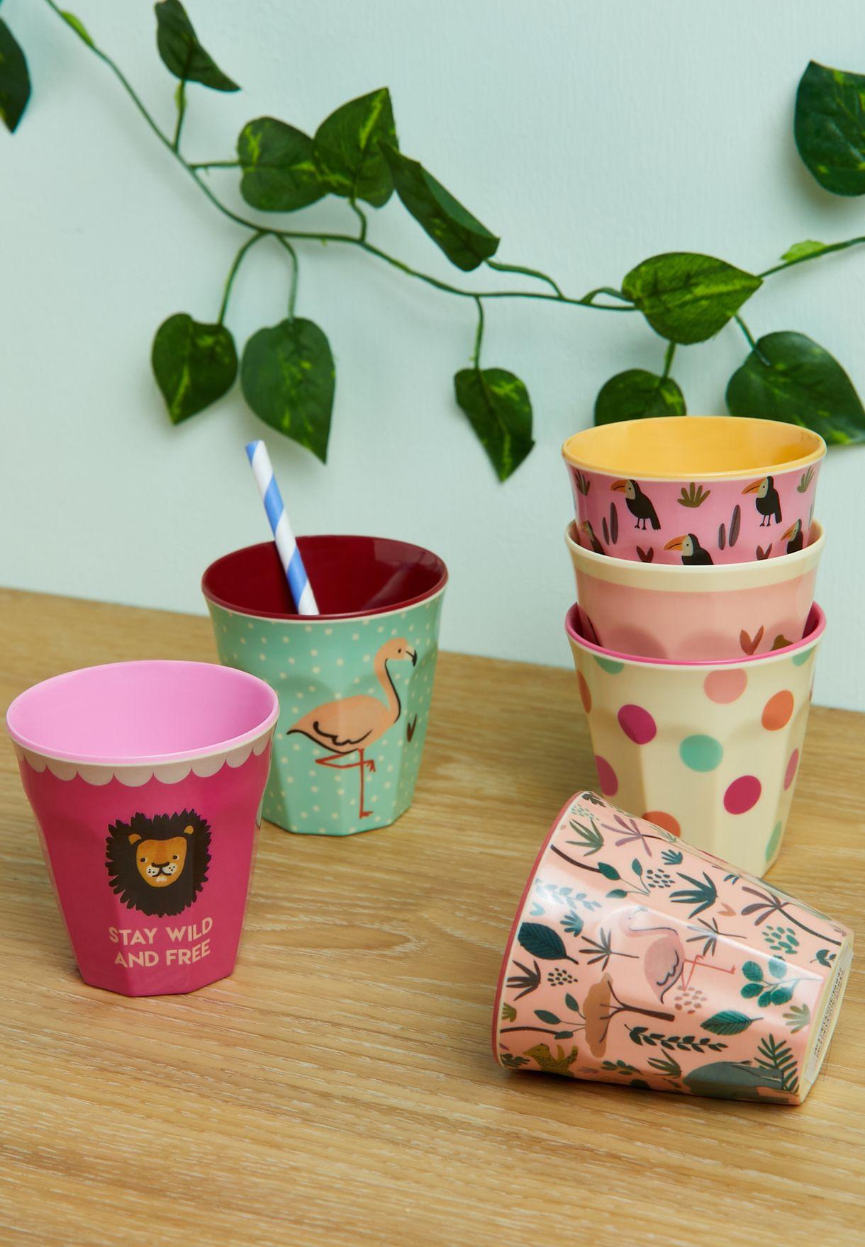 Set Of 6 Jungle Print Small Melamine Kids Cups