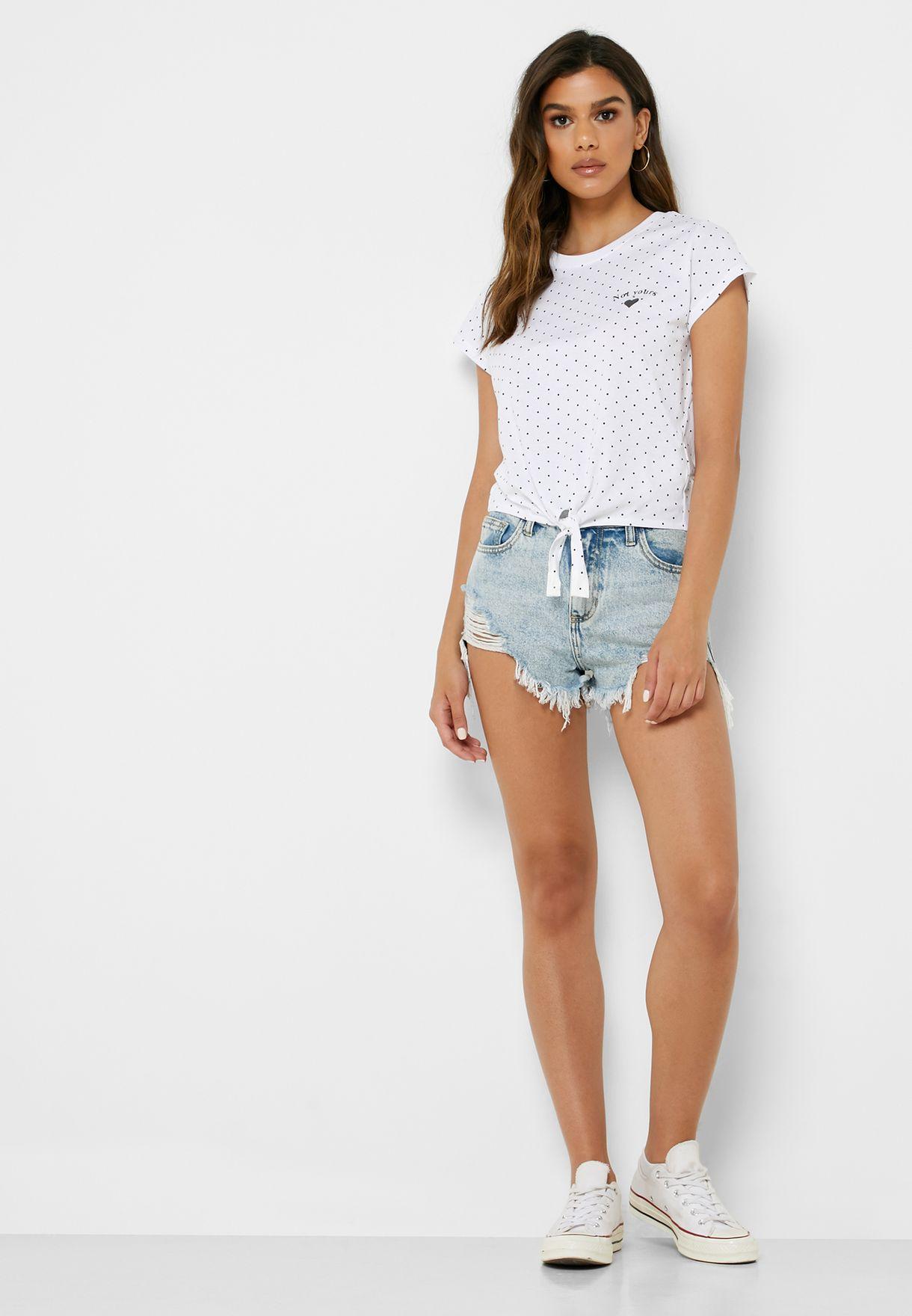 Front Knot Minimalist T-Shirt
