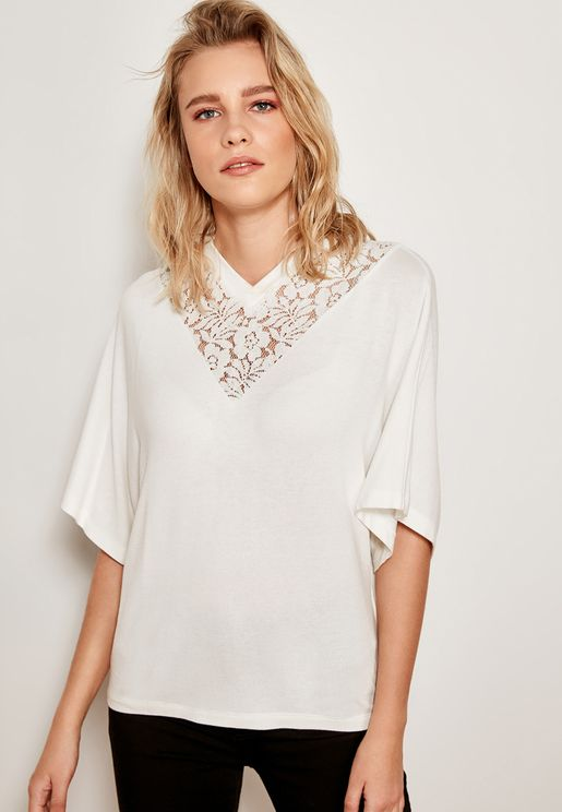 Lace Insert V-neck Top