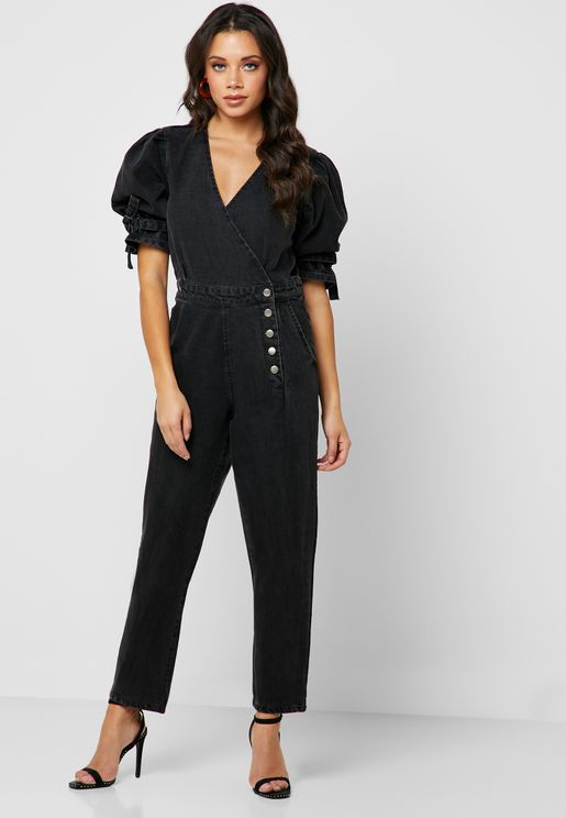 Puff Sleeve Wrap Denim Jumpsuit