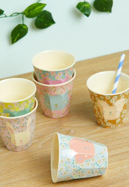 Set Of 6 Animal Printed Melamine Kids Cup