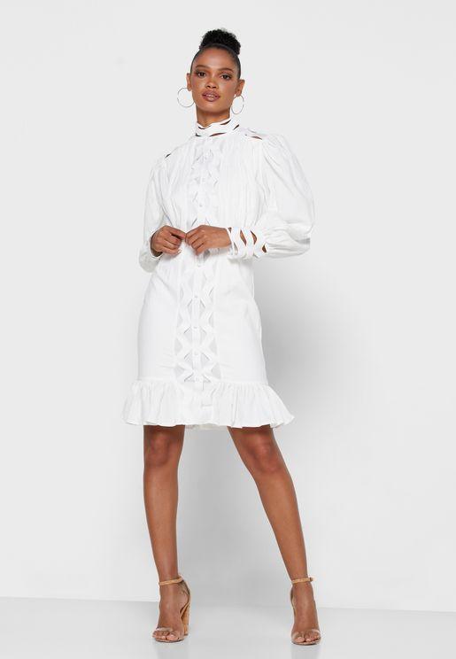 فستان قصير بحافة كشكش