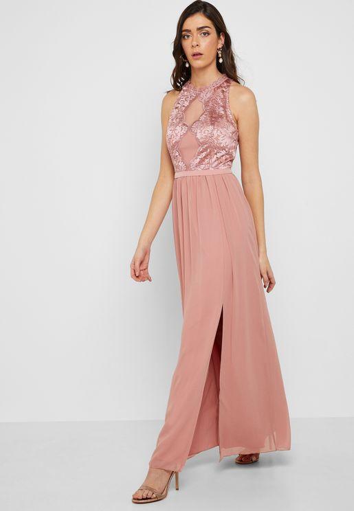 Embroidered Sleeveless High Neck Maxi Dress