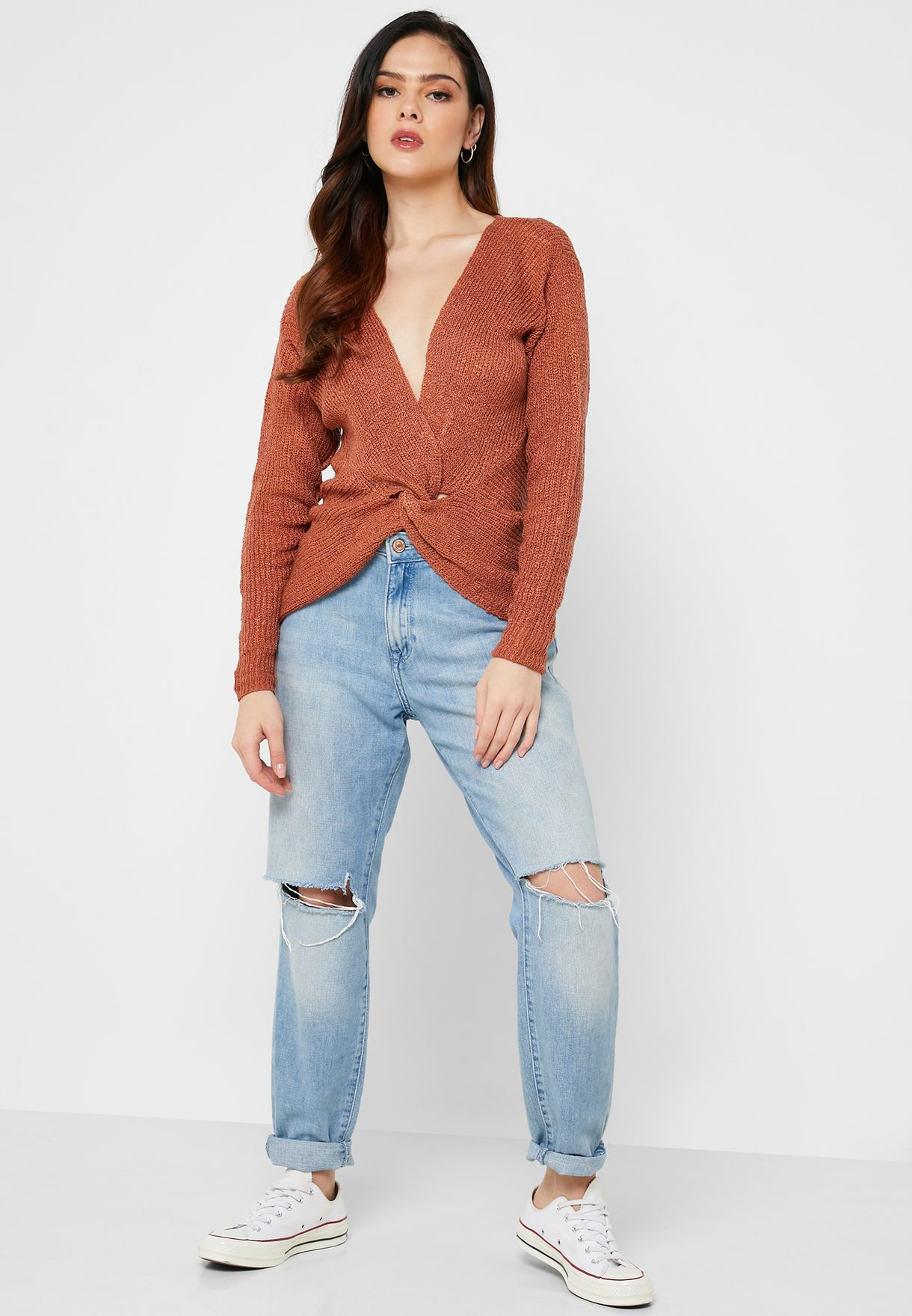 Front Twisted Plunge Sweater