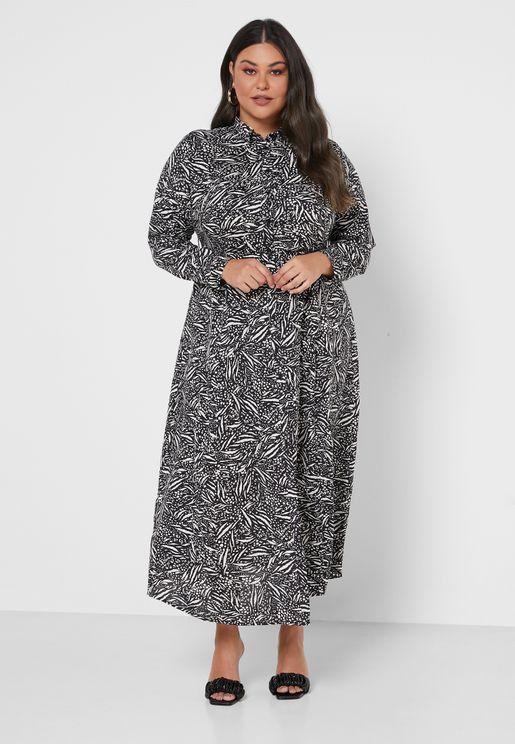 Printed Midaxi Shirt Dress