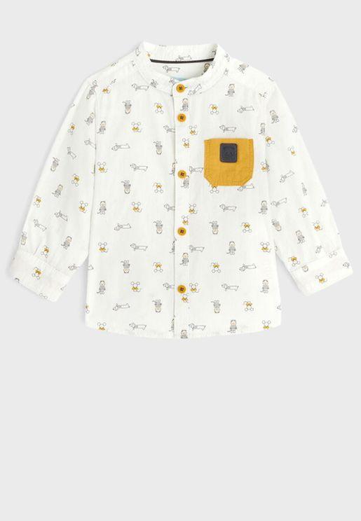 Kids Grandad Collar Printed Shirt