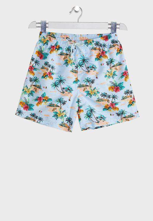 Kids Hawaiian Print Swim Shorts