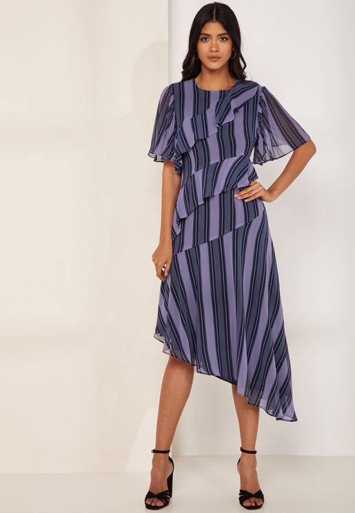 In Motion Sheer Striped Frill Detail Midi Dress