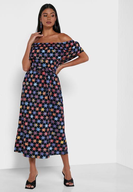 Printed Bardot Maxi Dress