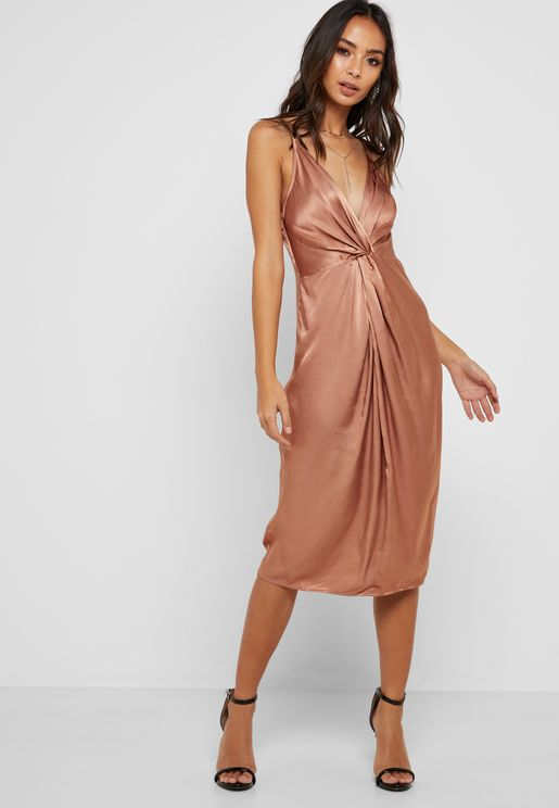 Front Twisted Plunge Dress