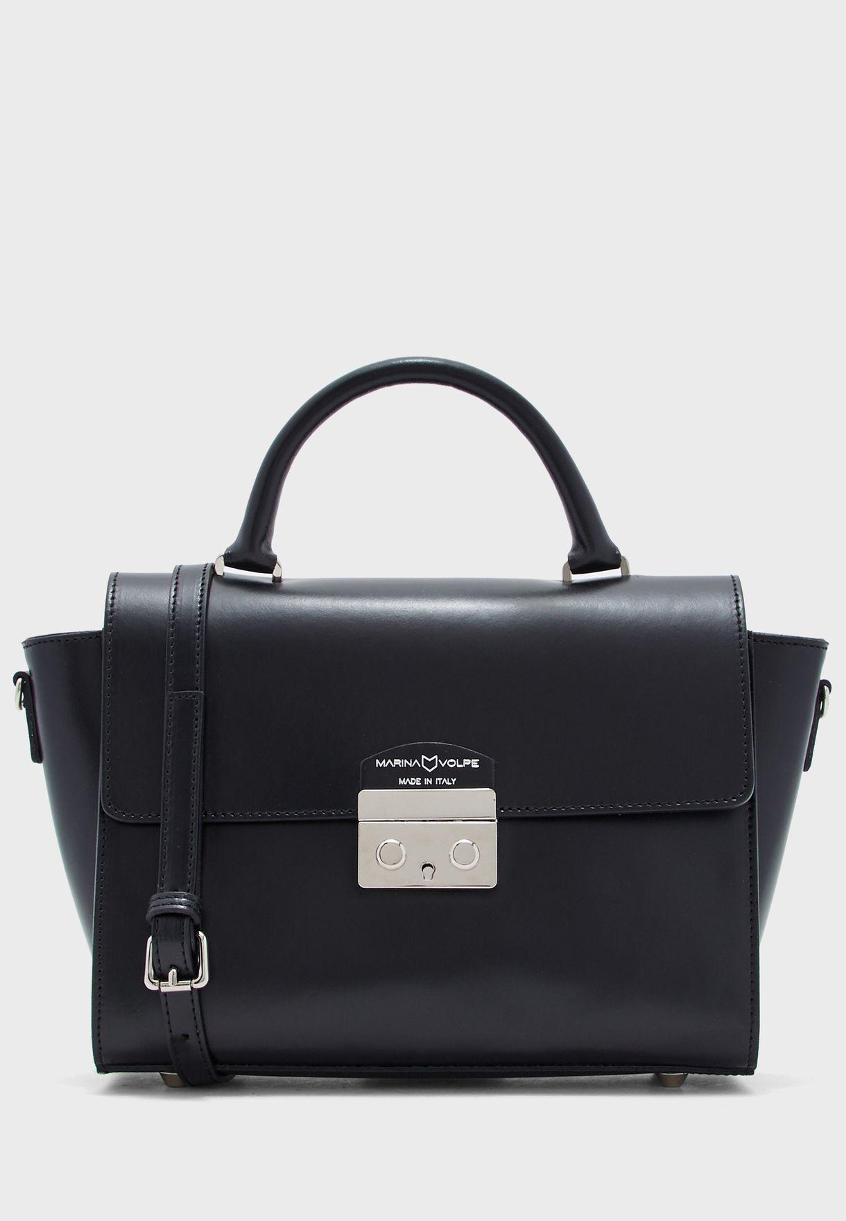 Italian Leather Satchel Handbag