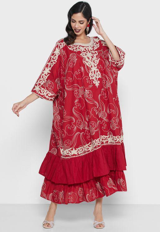 فستان بتطريز ميتاليك