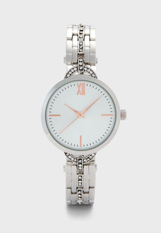 Stone Set TBar Bracelet Watch