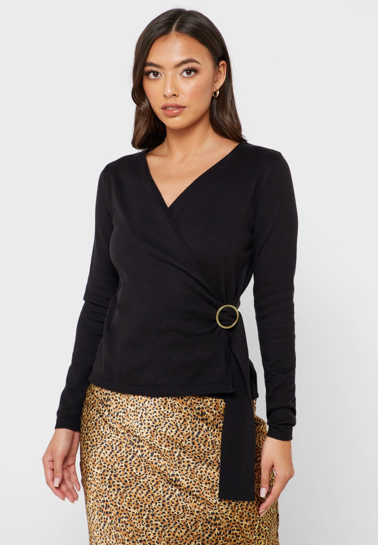 D-Ring Long Sleeve Wrap Top